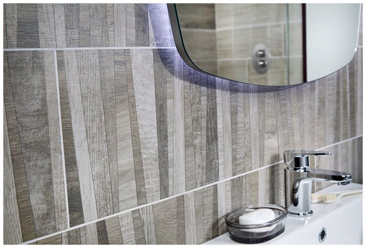 Create a feature wall with parquet weathered elm tiling #bathroomfurniture #tiles #myutopia