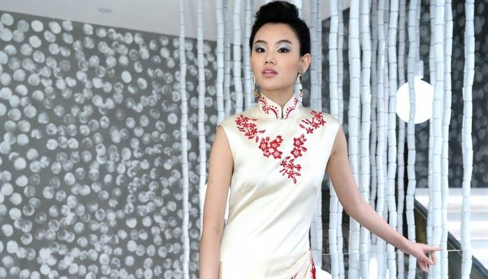 A model wears a cheongsam from Keita Maruyama's In the Mood for Love collection.