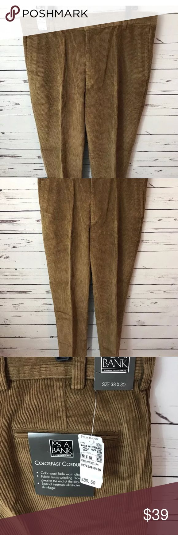 JoS.A. BANK NEW Tan Colorfast Corduroys 38WX30L This purchase is for a new pair of men's JoS.A. BANK Brand New With Tags The Size is 38X30 The Color is Tan/Brown JoS.BANK Pants Corduroy