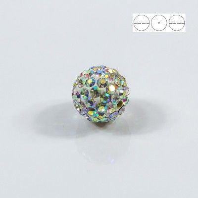Discoball Bead 14mm Crystal AB  Dimensions: 14mm Stones which were used in a ball are from Preciosa Company  1 package = 1 piece