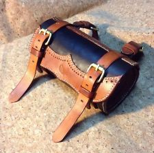NEW Genuine Leather Bicycle twotone Saddlebag Saddle Tool Bag -vintage Bike.