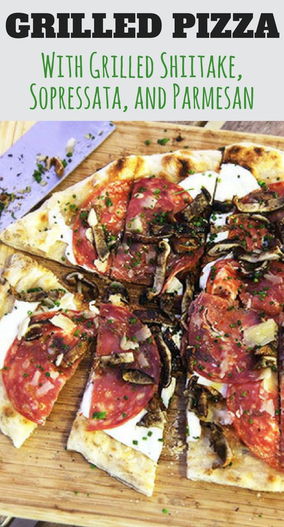 If you're going to grill a pizza (and you absolutely should), you might as well grill the toppings too. Here that means grilling up shiitake mushrooms and soppressata and cooking them onto a pizza with fresh mozzarella, Parmesan cheese, and chives. If you're a fan of truffle oil, this wouldn't be a bad time to break it out.