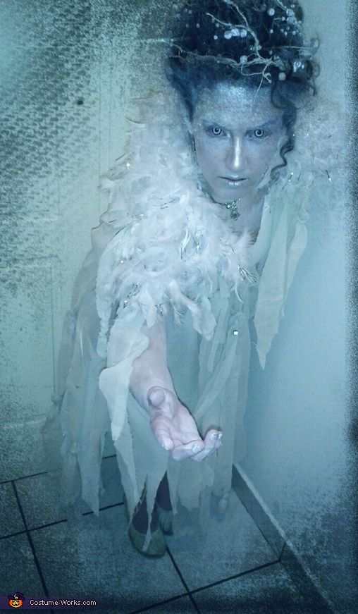Athina: I decided to become the Snow Queenbut I wanted it as much realistic as possible! I imagined a creature out of this word, among snowy mountain! I sewed an old...