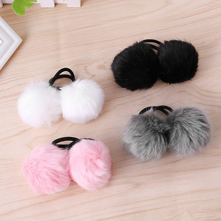 2pc Faux Rabbit Fur Pompom Ball Hair Scrunchie Elastic Ponytail Holder Hair Band