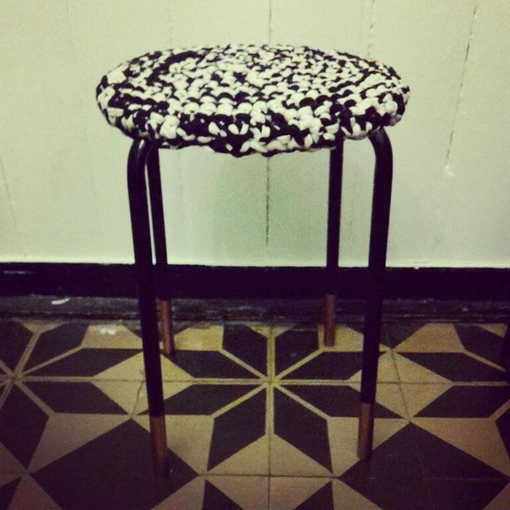 Marius stool ikea with crocheted hooked zpagetti cover and copper painted legs