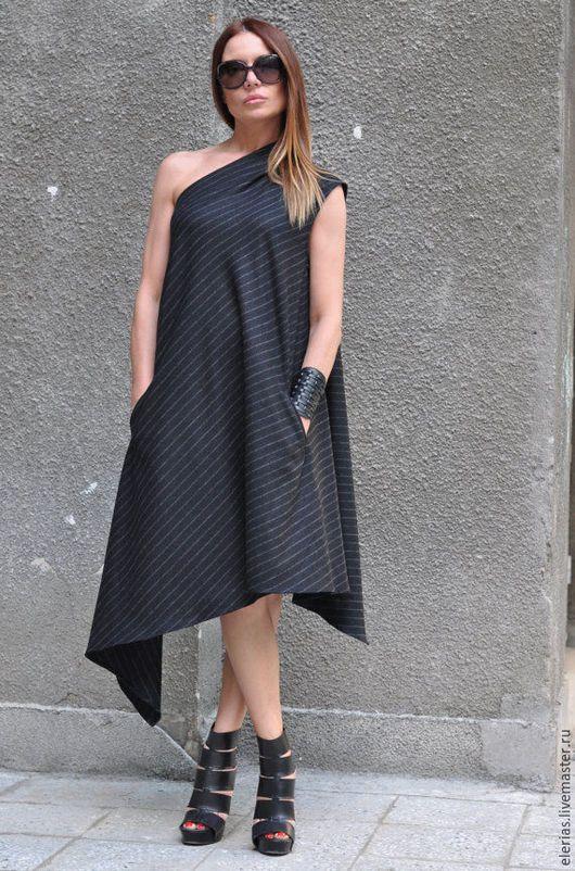 Черное, ассиметричное платье. Ярмарка Мастерое - ручная работа.