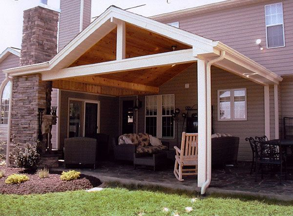 Hip roof with wood ceiling patio backyard ideas pinterest for Garden decking with roof