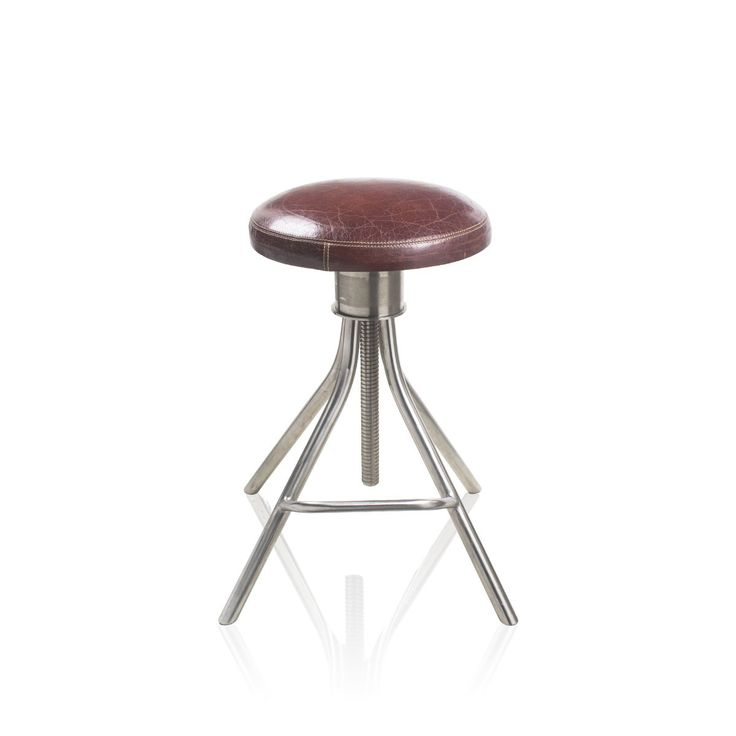 Dark Tan Bar Stool - Here is a dark tan bar stool with a leather top and stainless stool bottom. Made to assure great comfort, it can be a great addition to your home and office arrangements. With a promising quality, it is also an ad on to your classy living.#INVHome #LuxuryHomeDecor #InteriorDesign #RoomDecor #Decorations #Decor #INVHomeLinen #Tableware #Spa #Gifts #Furniture #LuxuryHomes #Furniture #Stools