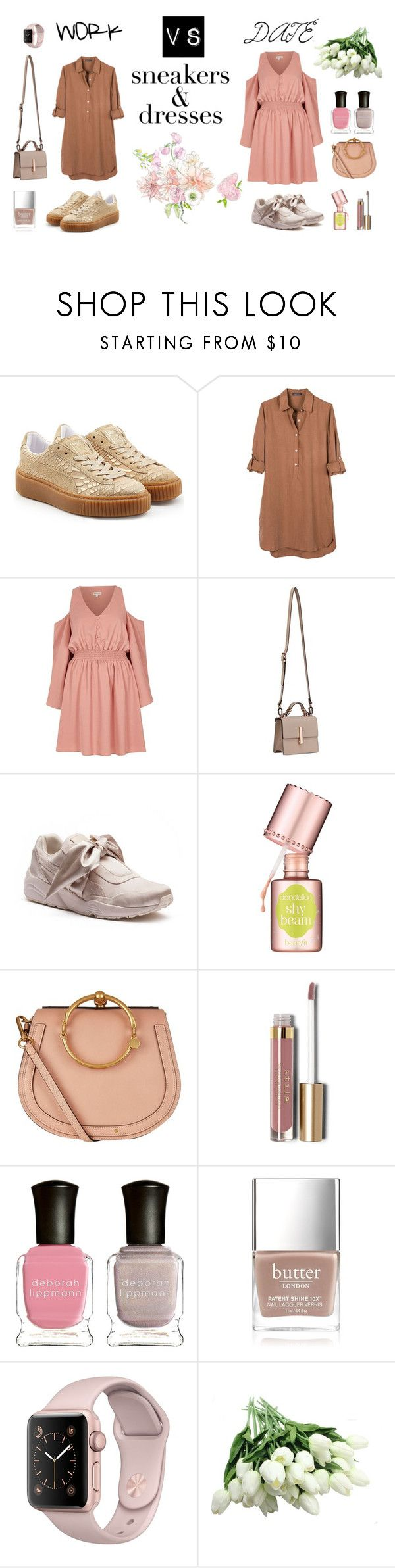 """work vs date"" by lanagur on Polyvore featuring мода, Puma, United by Blue, River Island, Kendall + Kylie, Benefit, Chloé, Stila, Deborah Lippmann и Butter London"