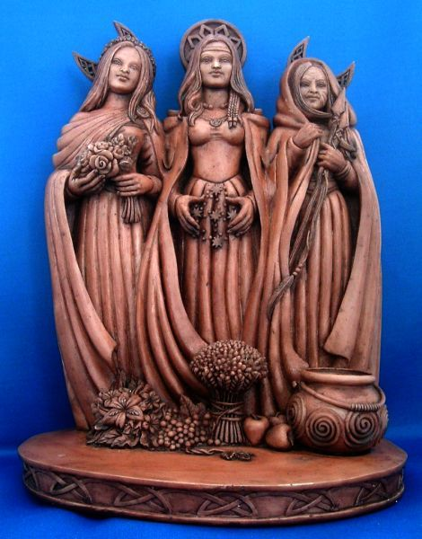 Triple Goddess Statue: Maiden, Mother, Crone Pagan Altar Statue