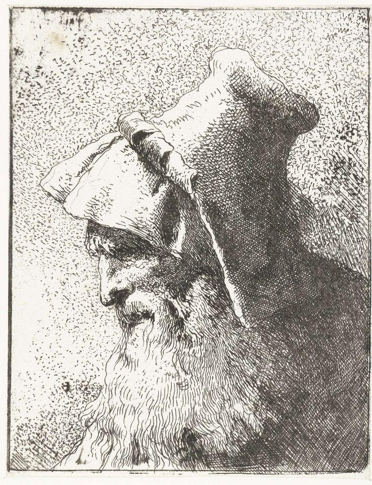 Giovanni Domenico Tiepolo | Man met baard en hoed, Giovanni Domenico Tiepolo, Giovanni Battista Tiepolo, 1757 - 1758 |