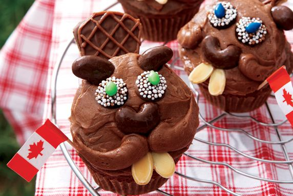 Canada Day Recipes: Red, White and Proud! http://www.canadianliving.com/food/beaver_cupcakes.php