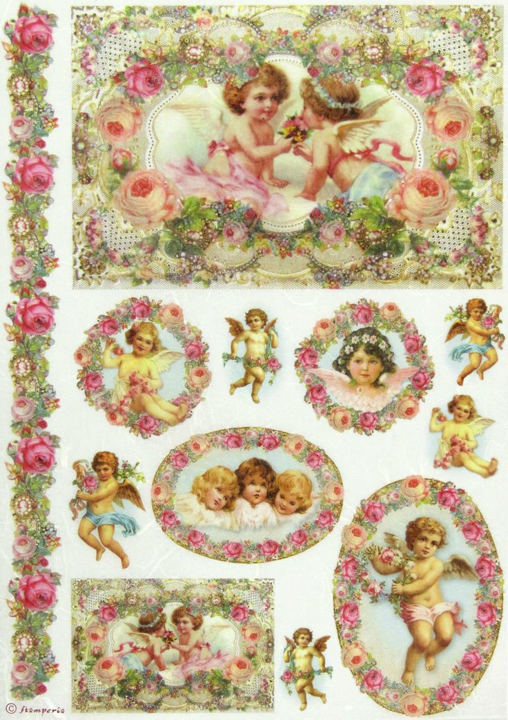 Viktorianisches Puppenhaus Holz ~ Ricepaper  Decoupage paper, Scrapbooking Sheets Garland with Angels