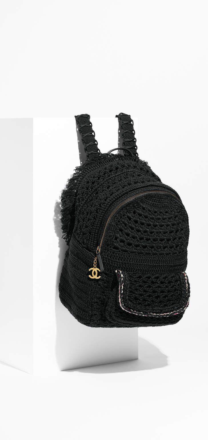 Mochila, crochê, trança & metal dourado-preto - CHANEL