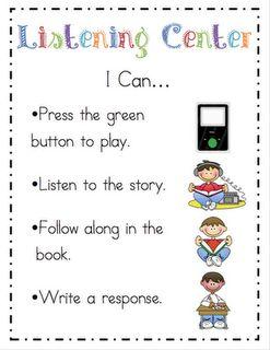"Daily 5 centers ""I Can"" cardsListening Centers, Kindergarten Literacy Centers, Kindergarten Reading Center, Cards Freebies, Ricca Kindergarten, Center Direction, Kindergarten Blogs, Kindergarten Freebies, Ela Center Ideas Kindergartens"