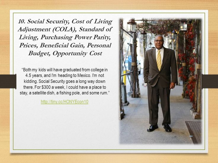 Social Security, Cost of Living Adjustment (COLA), Standard of Living, Purchasing Power Parity, Prices, Beneficial Gain, Personal Budget, Opportunity Cost #HONYEcon #teachecon #economics #econed #K12EconEd