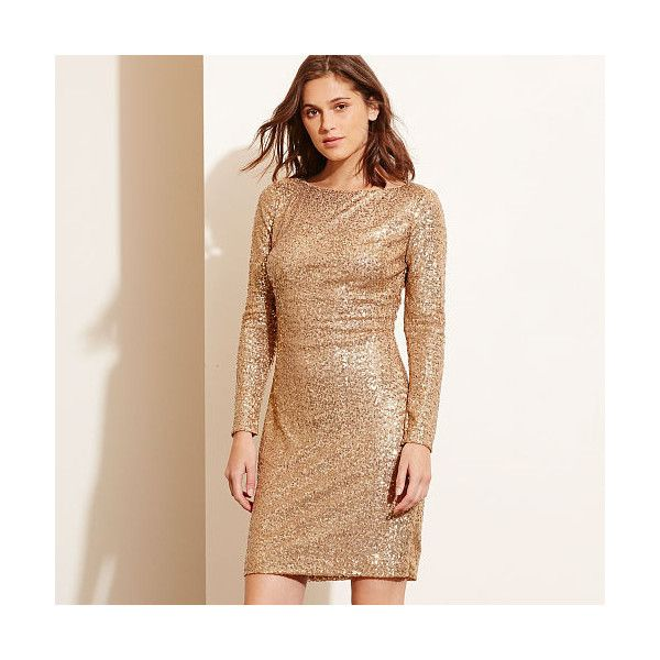 Ralph Lauren Lauren Petite Sequined Cutout-Back Dress ($170) ❤ liked on Polyvore featuring dresses, long sleeve sequin dress, beige long sleeve dress, beige sequin dress, slimming dresses and sequin cocktail dresses