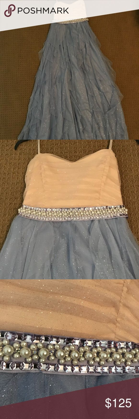 Prom dress Strapless sparkly cream and periwinkle dress with pearl and jeweled waist band Dillards Dresses Prom