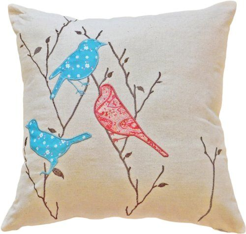 "Decorative Birds Applique with Embroidery Leaves Floral Pillow COVER 18"" Blue"