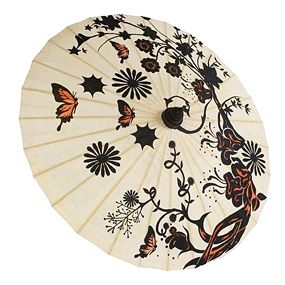 Hand Painted Butterfly Garden Paper Parasol by FavorIdeas held by bridesmaid?