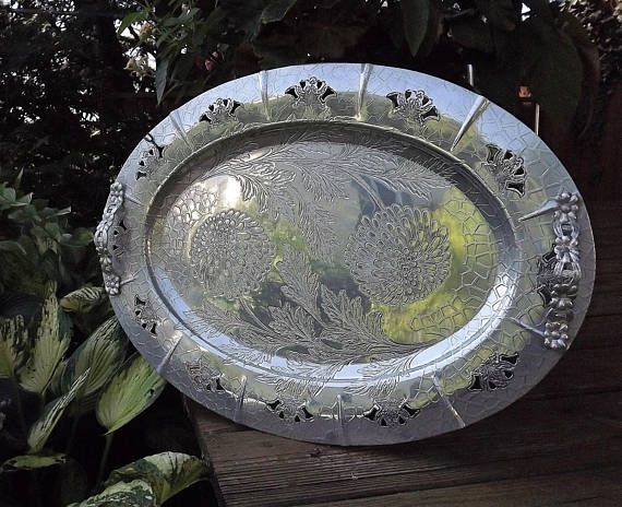 Big Silver Serving Tray Large Flower Tray Wedding Tray