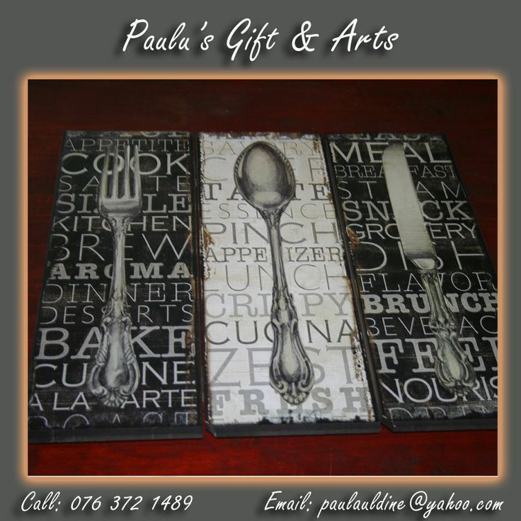 We have Knife, Fork and Spoon wall decor! Come and look at the Diaz Convenience Centre! Or call us on: 076 372 1489 Also see more at:http://tinyurl.com/m9gndmp #gifts #arts #crafts