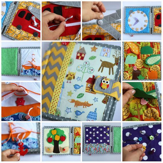 Quiet book chevron 6 pages children's activity fabric por TomToy