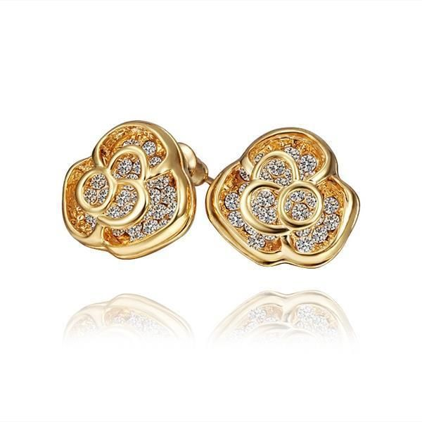 Trendy Gold Color Creole Stud Earring Women Jewelry Untuk Wanita Putih Melingkar Kristal Zirkon Anting Channel Brinco Perhiasan