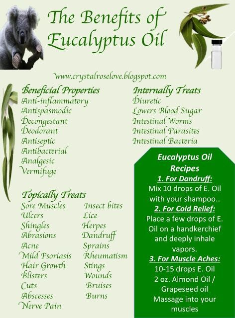 The Benefits of Eucalyptus Oil Good for congestion due to flu or cold.  Have seen caution in relation to kids.......do not use if under 2 years old, do not put near child's nose or mouth......for anyone, too large of a dose can be toxic.    Otherwise, the beneficial uses are very interesting.
