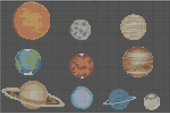 The Planets + Pluto Solar System Cross Stitch Pattern Simple & Fun PDF