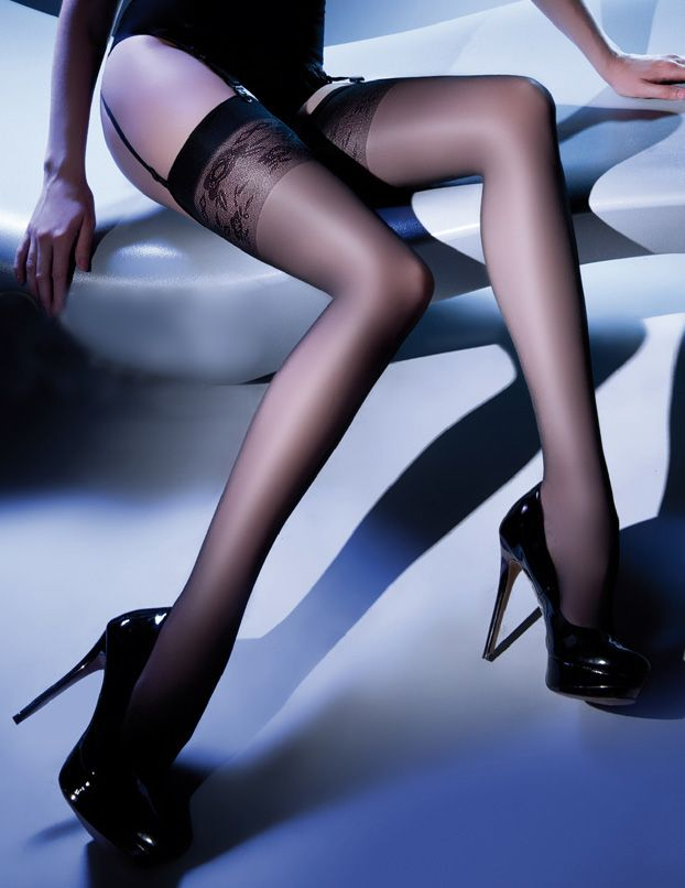 Gabriella Katia Stockings £11.99  Elegant 20 denier stockings by Gabriella with floral patterned tops.
