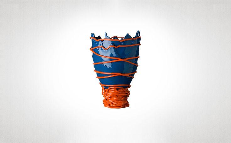 FishDesign/Gaetano Pesce: Pompitu II The blue and orange, 1995.   flexible resin vase blue orange Historical Collection