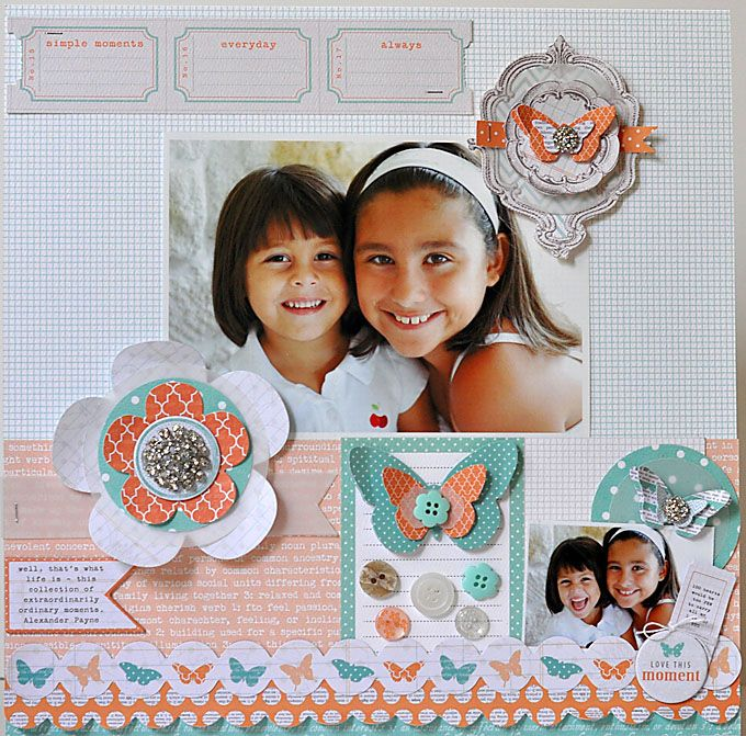 aqua, tangerine and white: Scrapbook Ideas, Design Team, Butterflies Angel Scrapbook, Colors Teresa Collins, Butterflyangel Scrapbook, Scrapbook Ideal, Inspiration Scrapbook Etc, Scrapbook Layoutscard, Collins Design