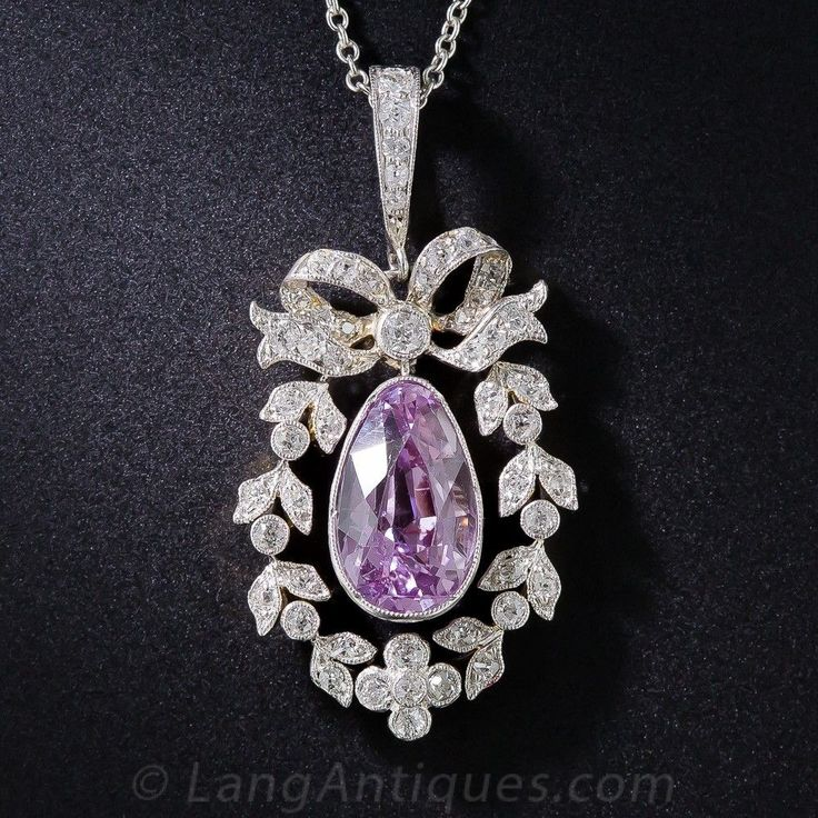 Edwardian Pink Sapphire, Platinum and Diamond Necklace