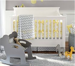 Gray and yellow baby room