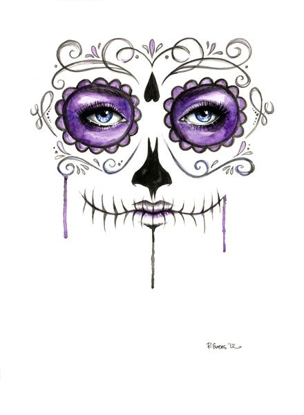 sugar skull prints | Purple Sugar Skull Art Print by Robin Ewers | Society6