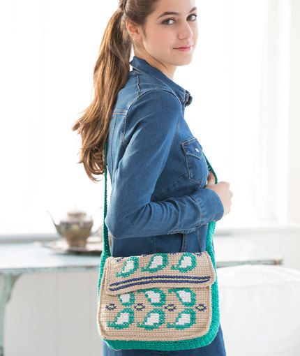 Embellished Paisley Purse Free Crochet Pattern in Coats Creme de la Creme Yarn