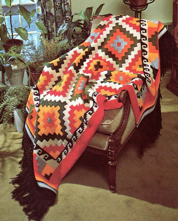 Crochet Patterns India : Earthy Vintage Geometric Indian Afghan: vintage crochet pattern ...