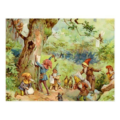 Gnomen, Elf en Feeën in het Magische Bos Briefkaart