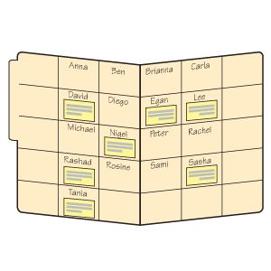 Divide the inside of a file folder into boxes that are slightly larger than small sticky notes. Write students' names in the boxes in alphabetical order, one name per box. Whenever you want to make a note about a student's progress, jot the information on a sticky note and then place it in the appropriate box. Periodically move the sticky notes to students' assessment folders. You'll have valuable information at your fingertips when it's time to prepare report cards... Data idea??