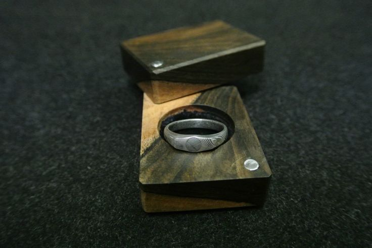 stainless damascus ring with gibeon meteorite eye