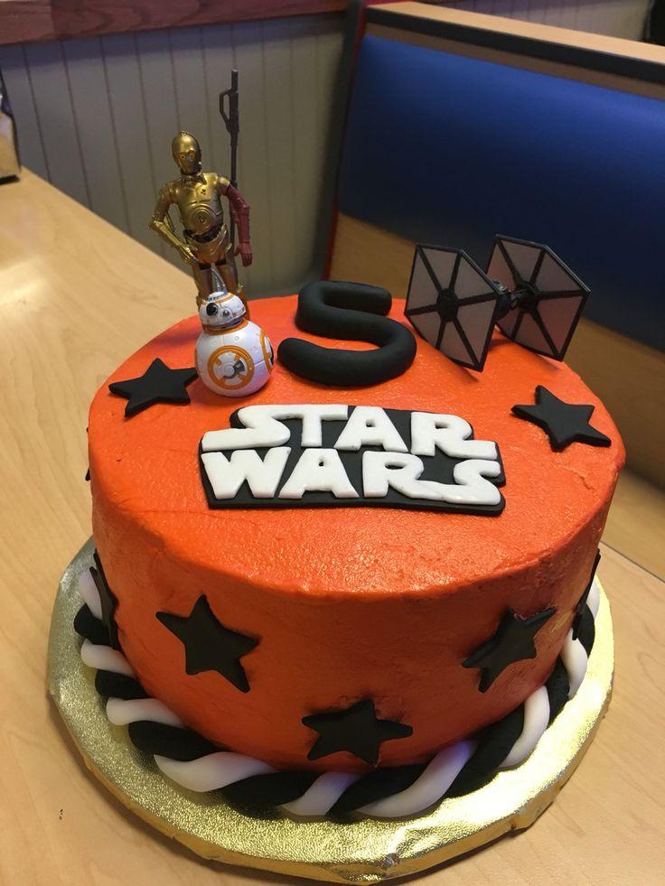 Star Wars Force Awakens Birthday Cake, Homemade, Buttercream with Fondant Decorations and Figurines, Star Wars Cake