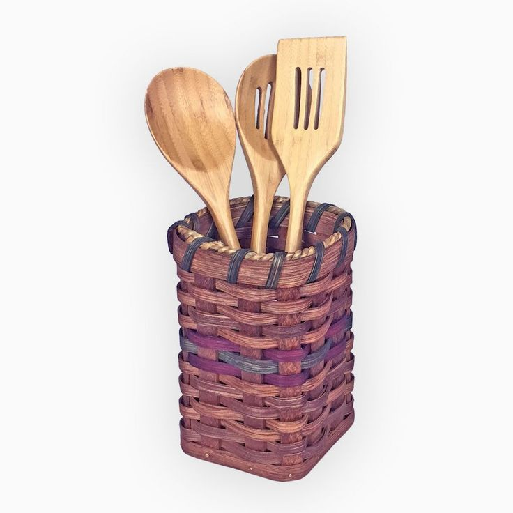 Amish Made Kitchen Cooking Utensil Holder Basket