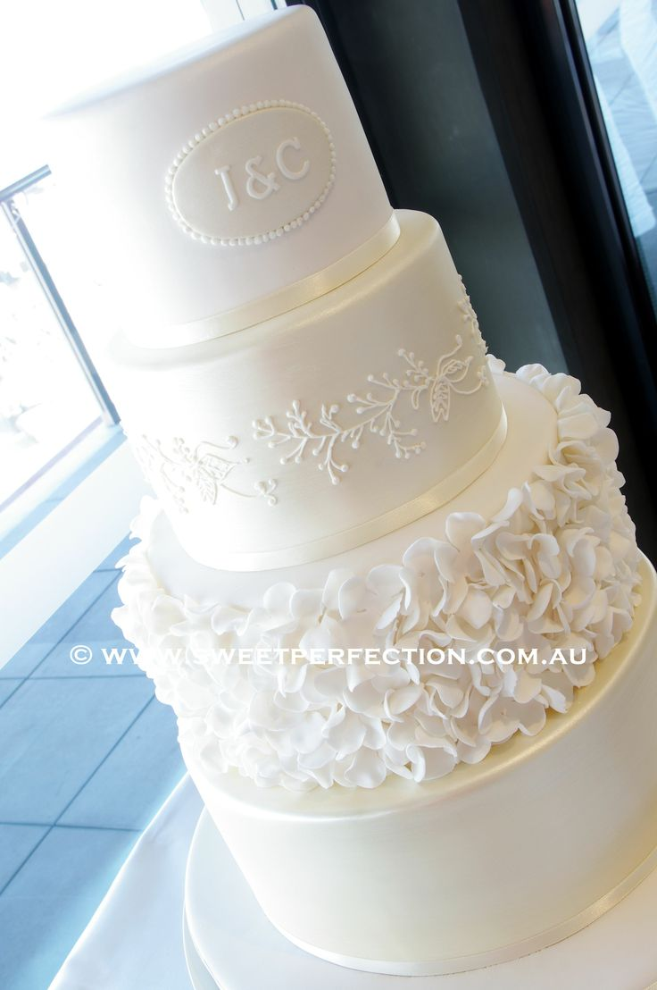 Pale Gold - Fondant covered, brushed with pale gold, with ruffled petal design, and piped royal icing lacework based on bridal veil.  Thanks for looking :-)