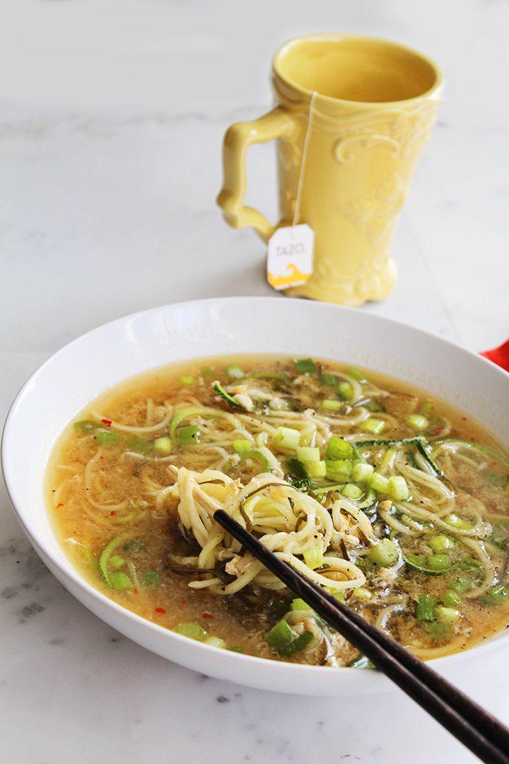 Ginger Scallion & Egg Drop Zucchini Noodle Bowl   Inspiralized