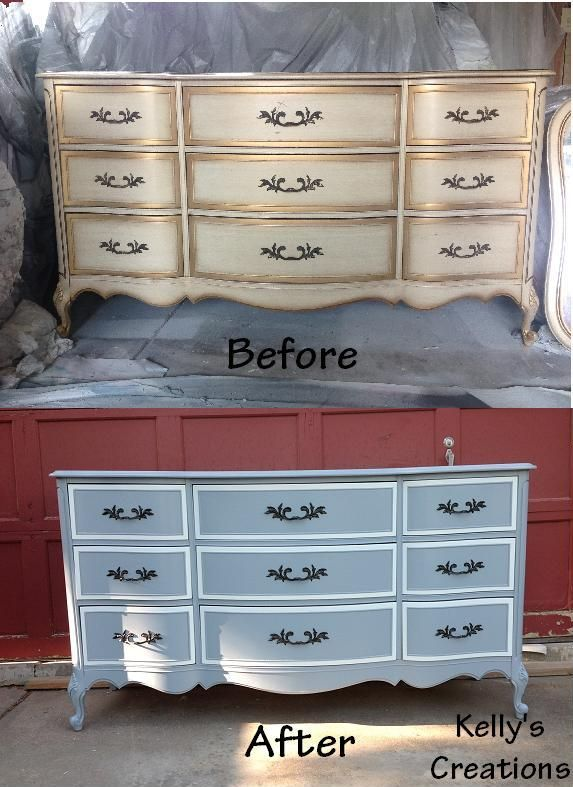 White And Blue French Provincial Dresser Before And After