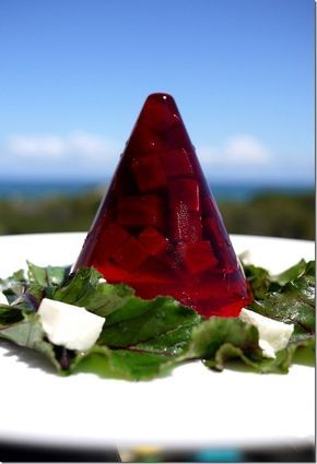 Colours of France: Pinot Noir beetroot jelly with goat cheese salad.