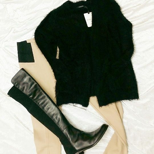 Wrap yourself up for winter with these deliciously long black leather boots together with stylish goat ponti pant and fluffy black Ping Pong cardi - just perfect.