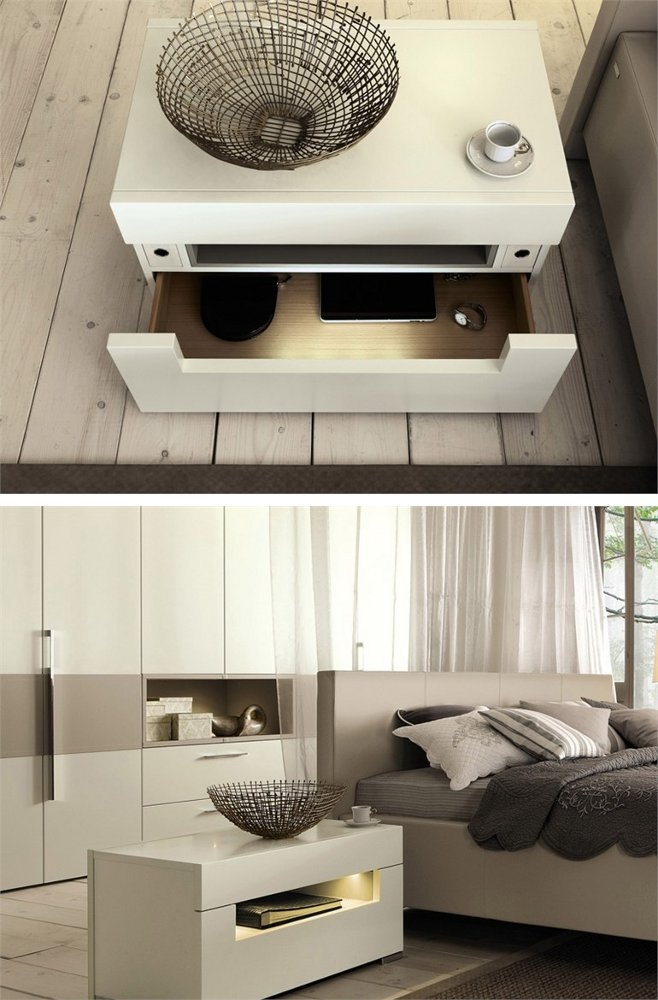 Lacquered bedside table with built-in lights ELUMO II by Hülsta-Werke Hüls #bedroom