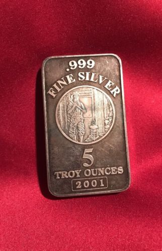 1980s NMI Nevada Metallurgical INC 5 Troy Ounce .999 Silver Ingot Bar PROOF RARE